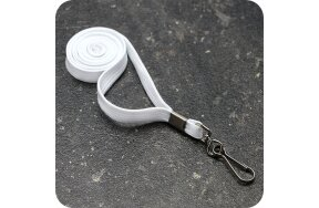 LANYARDS 1cm WHITE WITH HOOK